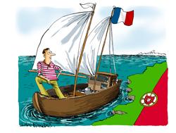 Bandeira francesa hasteada em águas portuguesas