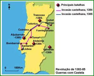 mapa de aljubarrota HISTÓRIA DE PORTUGAL mapa de aljubarrota